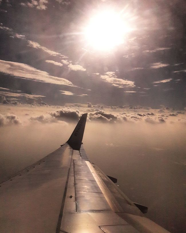 Sunlight Transportation Sunset Airplane Cloud - Sky The Way Forward Sun Sky No People Nature Outdoors Landscape Day Beauty In Nature