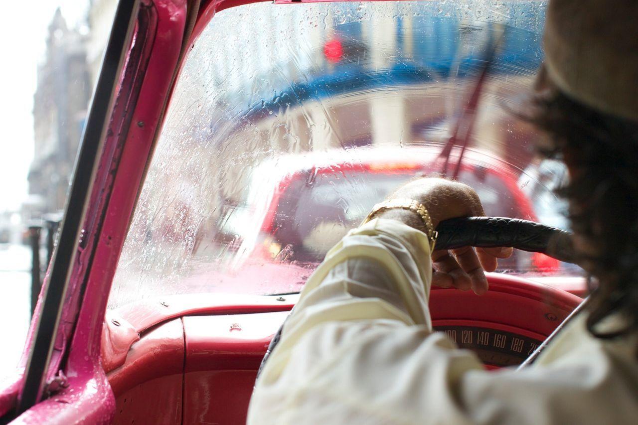 On The Road With BlaBlaCar Cuba Havana Vamos Vintage Cars Rain Pink Taxi Driving Driver