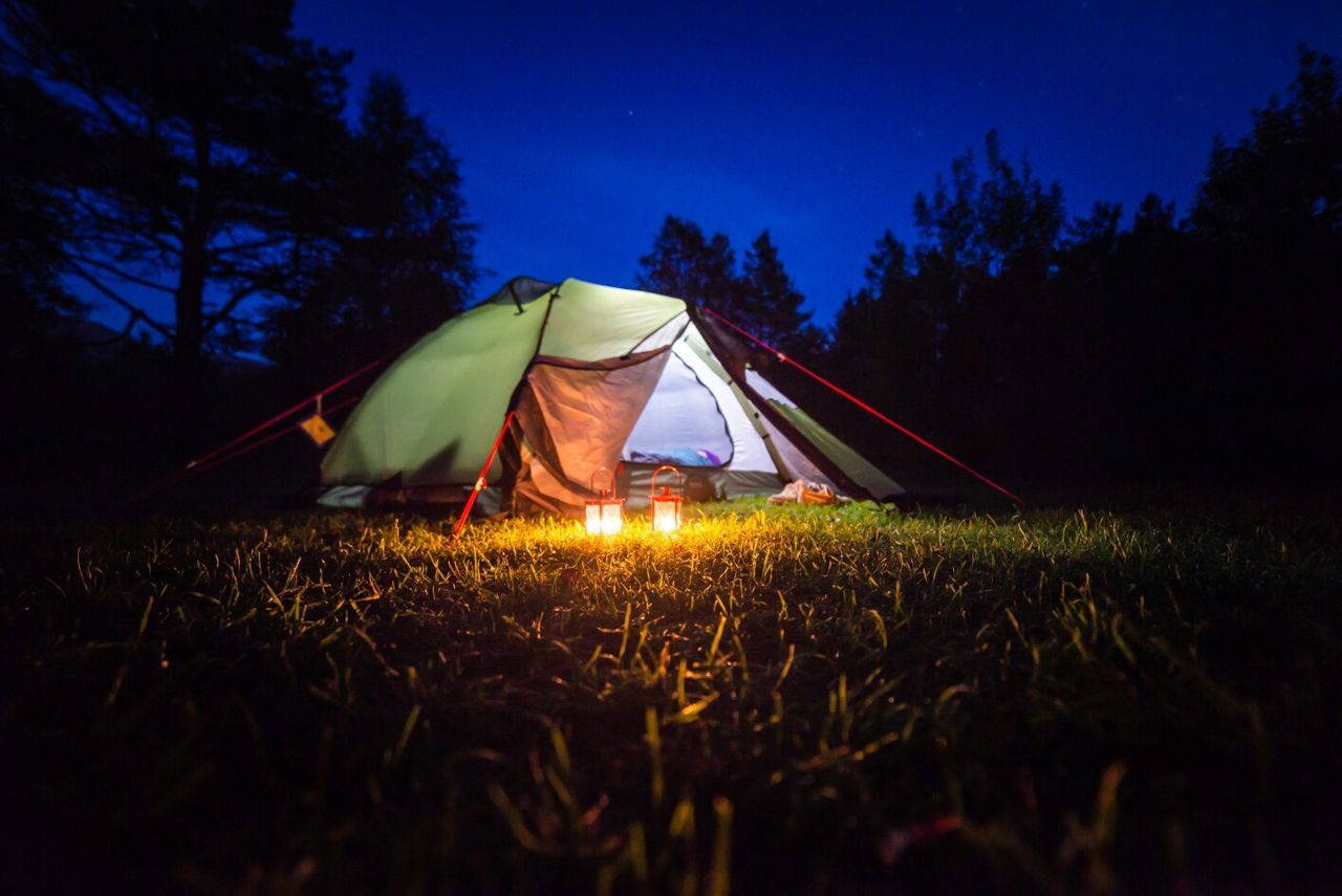 Beautiful stock photos of camping, tree, silhouette, surface level, field
