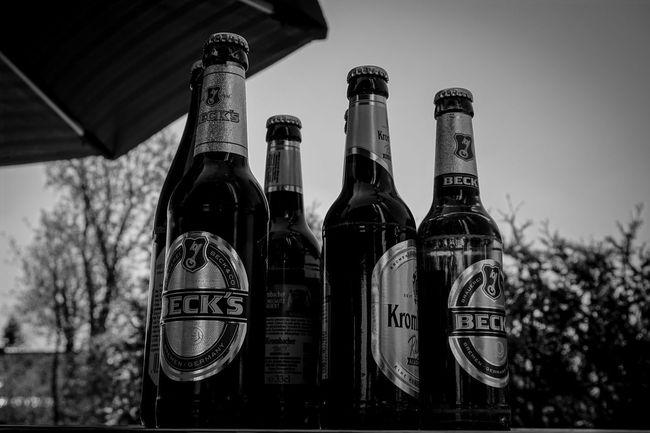 Sitting In The Sun Enjoying The Sun Enjoying Life Drinking Beer Black & White Black And White Blackandwhite
