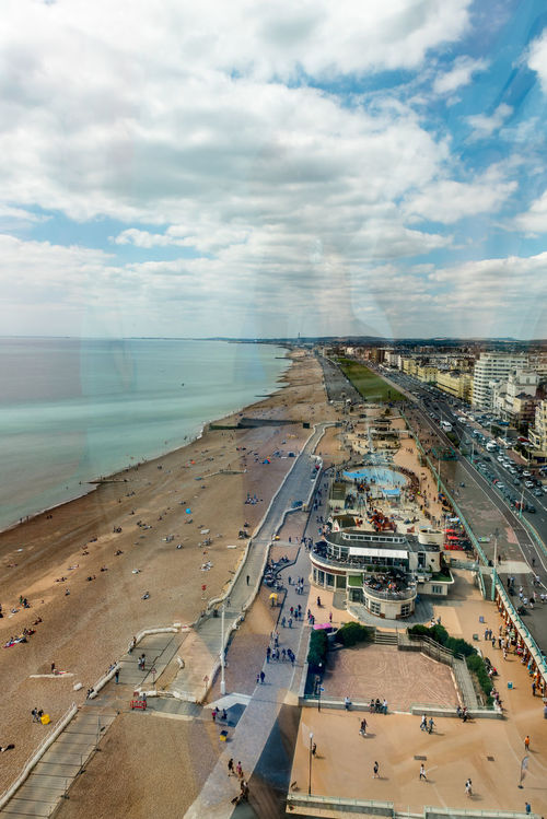 Aerial view out of Brighton Tower. Sussex England Aerial View Coastline Day England I360 I360 Tower Landscape Outdoors Seaside Sky Through Glass Through Window