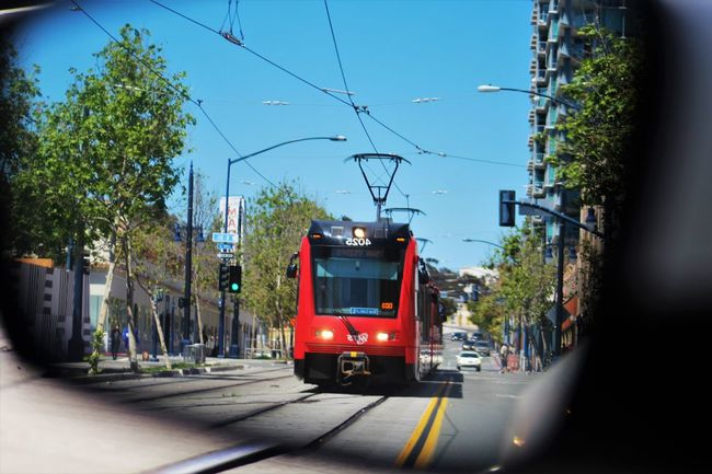 City Day Land Vehicle Mode Of Transport No Filter No People Power Line  Power Supply Rear View Rearview Mirror Rearviewmirrorshot Street Photography Streetphotography Transportation Trolley Urban Lifestyle