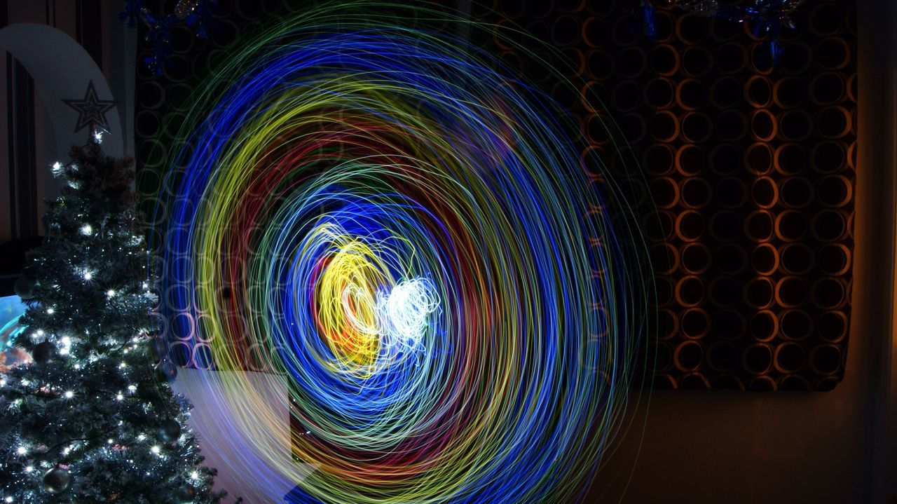 Illuminated Night Multi Colored Long Exposure Arts Culture And Entertainment Spiral No People Low Angle View Sky Outdoors Wire Wool Christmas Lights Slomotion Longexposure Slow Shutter Just For Fun