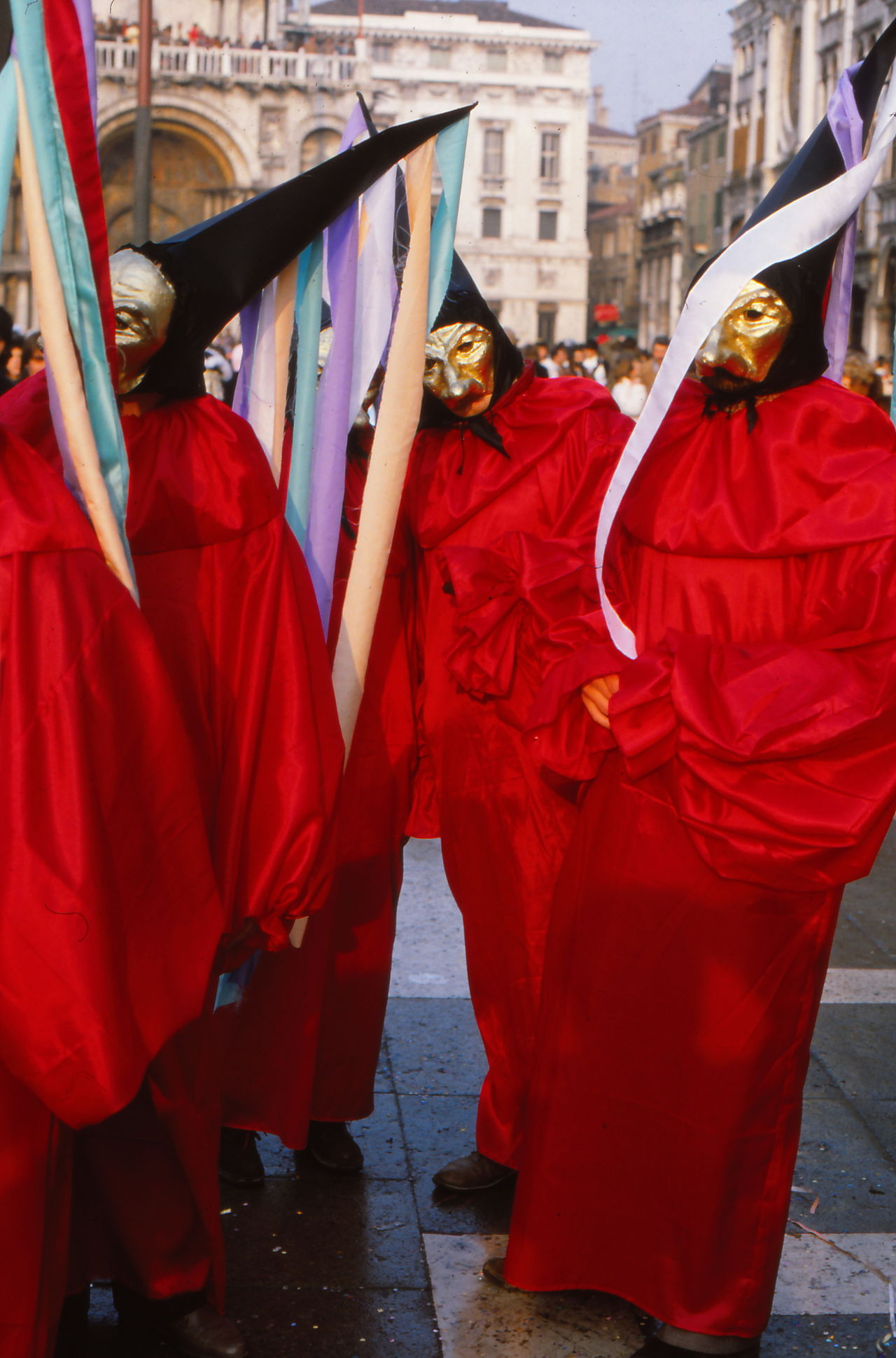 Carnival Colors Of Carnival Full Frame Group Of Masks Lifestyles Red Color Standing Venice Carnival Venice, Italy