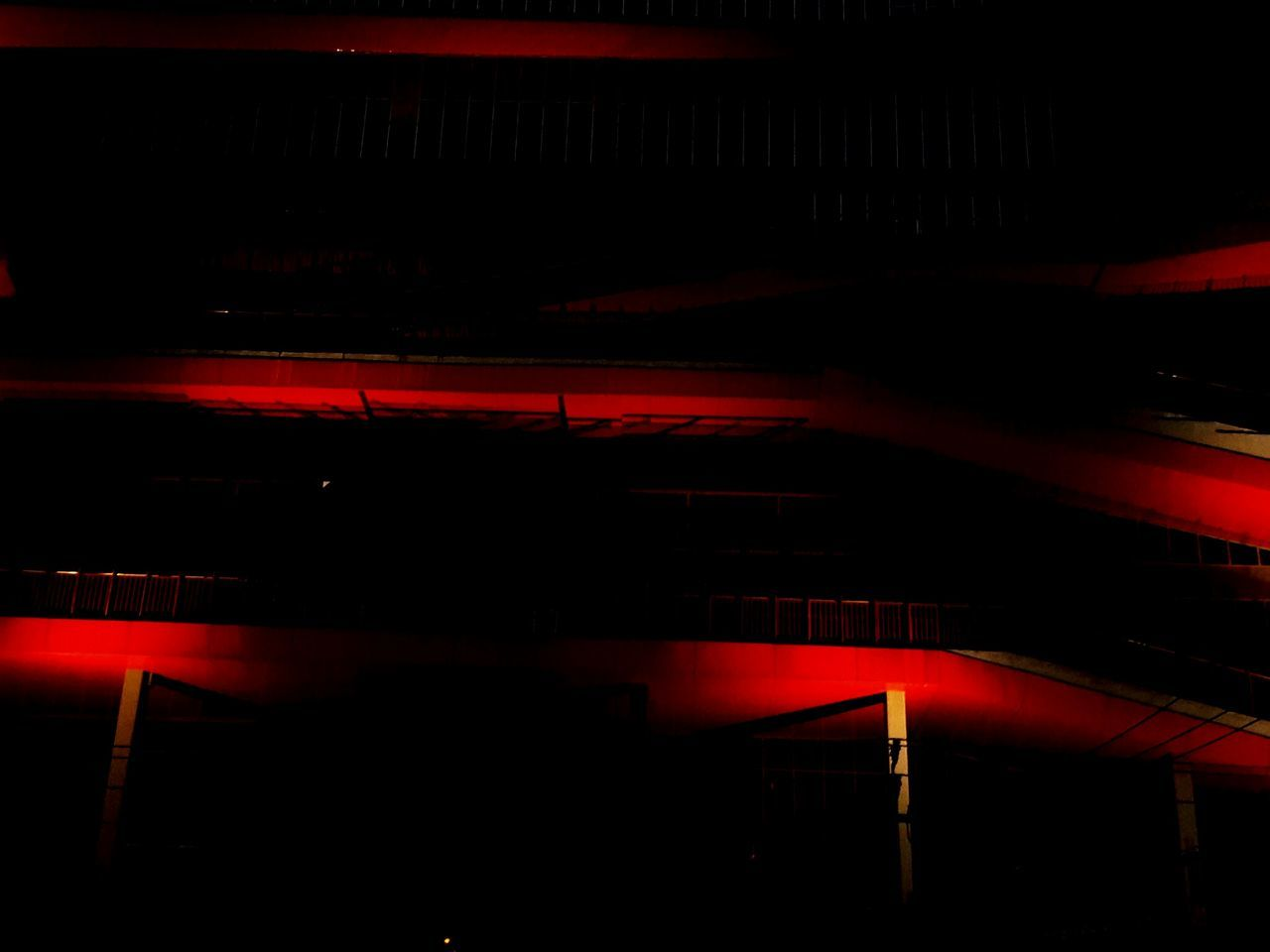 illuminated, night, transportation, red, underground, no people, parking garage, indoors, built structure, architecture, neon, city