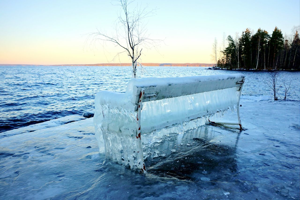 Bench Sunset Nature Frozen Landscape Ice Winter Beauty In Nature Icicles Cold Lake