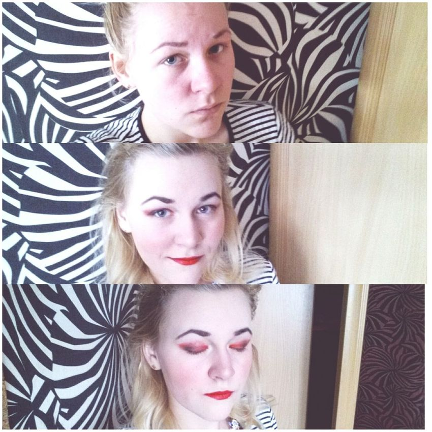 Makeup ♥ Red Lips Latvia Laura Black & White Stripes Beautiful Blonde
