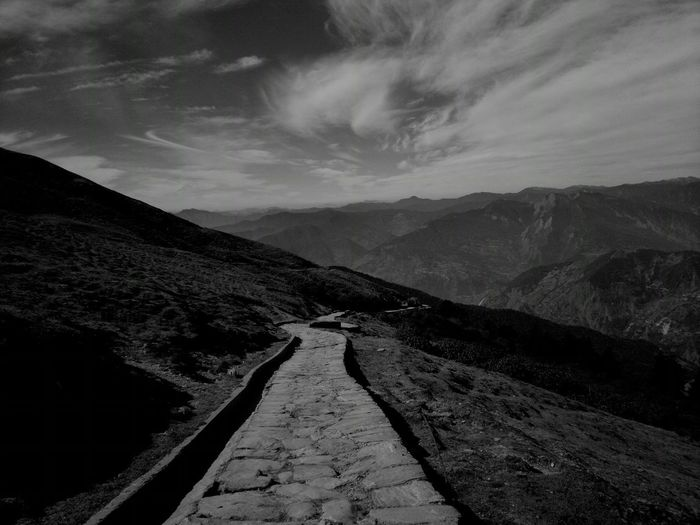 The transient path does question the uncertainty. But when the edge is reached, the transient path feeds to the greed of your soul. The Traveler - 2015 EyeEm Awards The Great Outdoors - 2015 EyeEm Awards The Adventure Handbook Adventure Blackandwhite Black & White Traveling Trekking Uncertainty  Melancholic