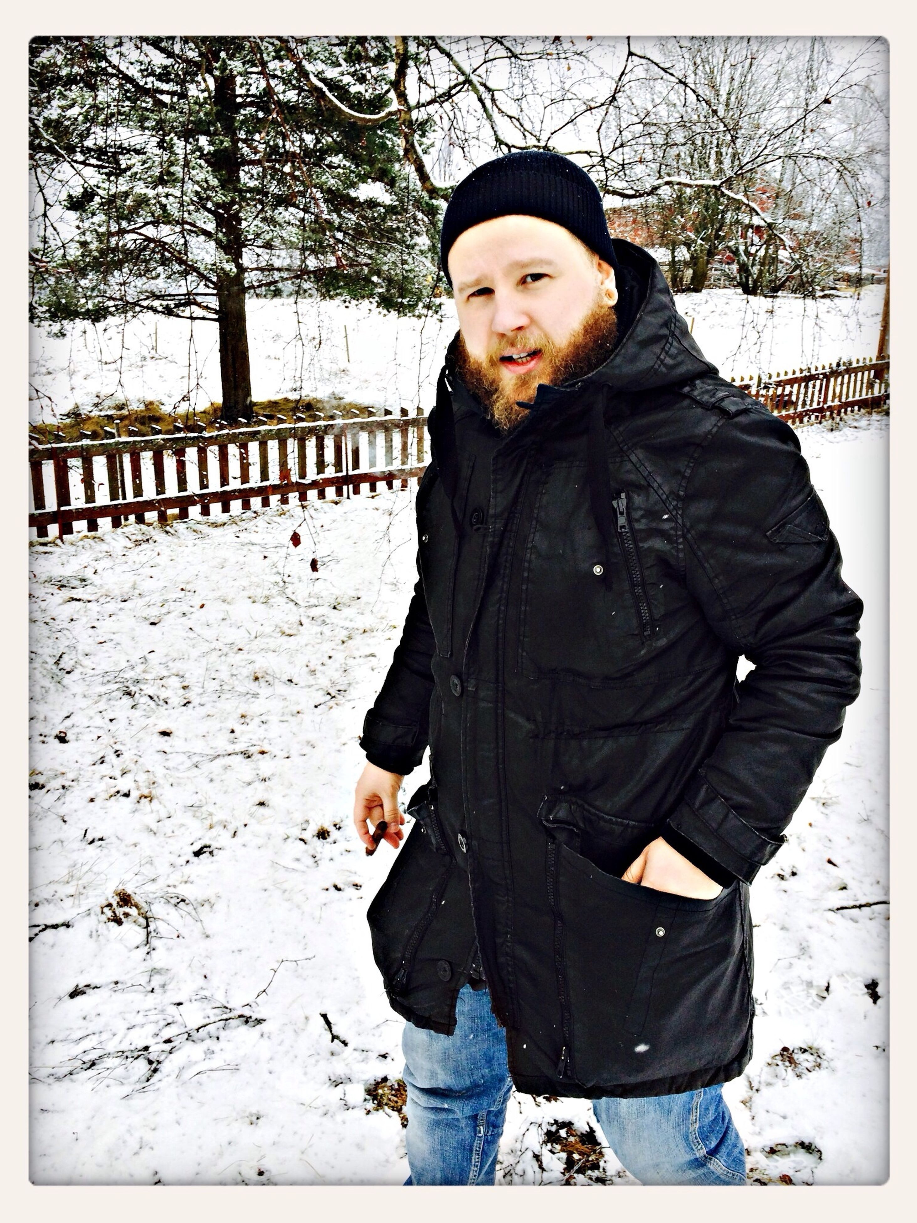 transfer print, lifestyles, person, looking at camera, warm clothing, winter, portrait, casual clothing, leisure activity, snow, front view, cold temperature, season, auto post production filter, standing, full length, bare tree, smiling