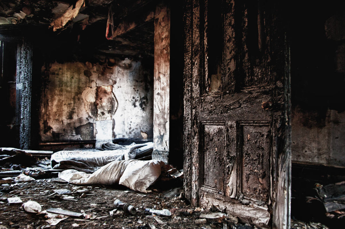 Abandoned Architecture Burned House Damaged Destruction Door Interior Metal Old Ruined Run-down Rusty Wall Wood