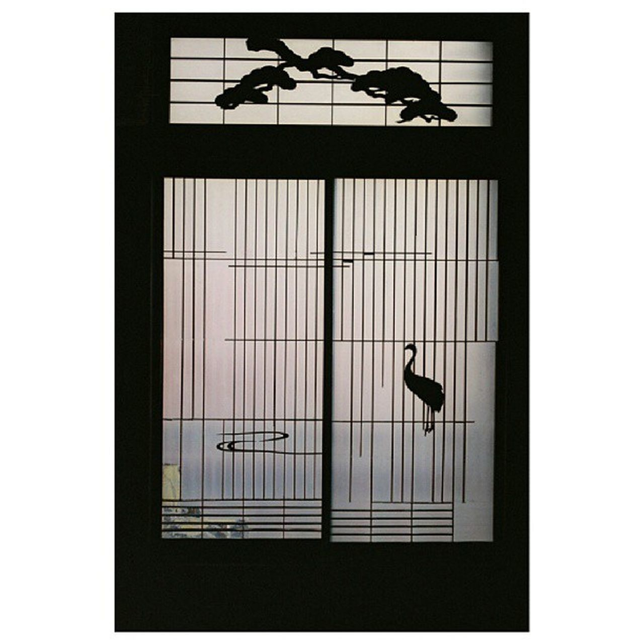 silhouette, indoors, window, one animal, built structure, no people, day, bird, architecture, hanging, low angle view