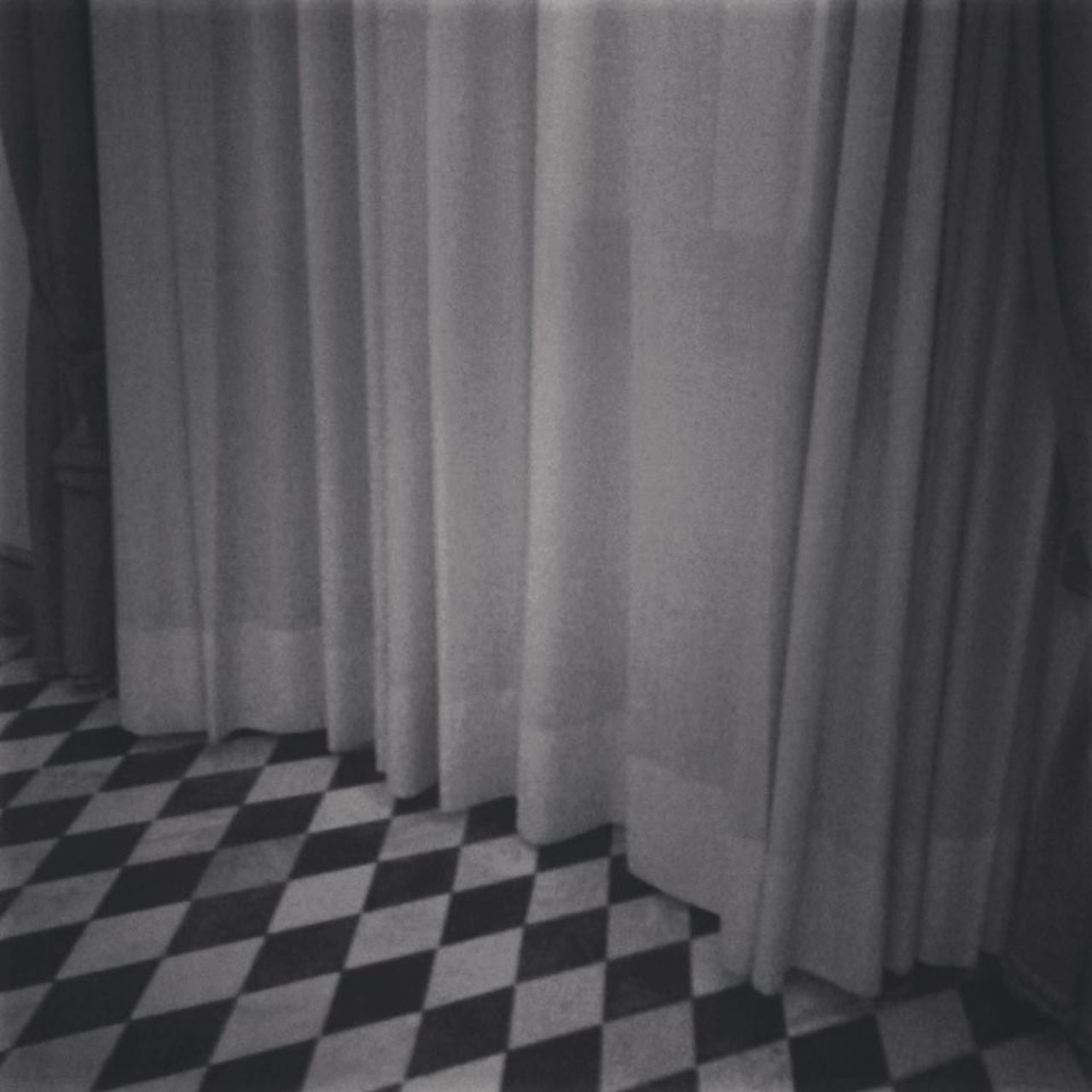 curtain, white, no people, checked pattern, drapes, indoors, day, close-up