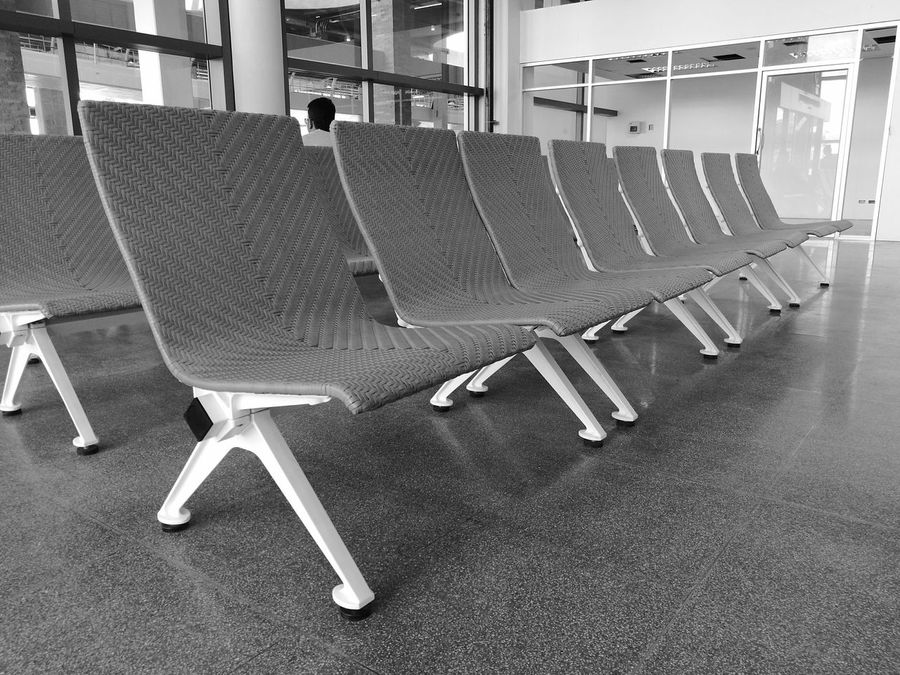 Monochrome Photography Indoors  Chairs Airport Waiting Check-in Phuket,Thailand Black And White