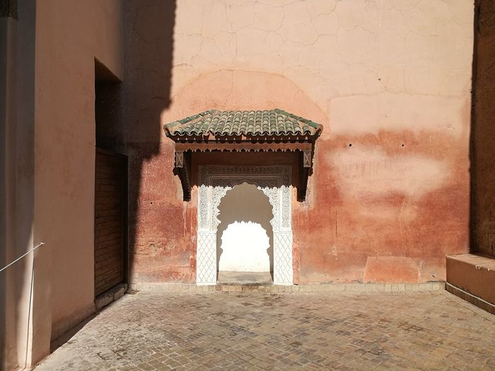 Pink architecture at Marrakesh Moroccan Architecture Moroccan Style Morocco Pastel Power Arch Architecture Building Exterior Built Structure Day Indoors  Marrakech Marrakech Morocco Moroccanart No People Pastel Pink Architecture,