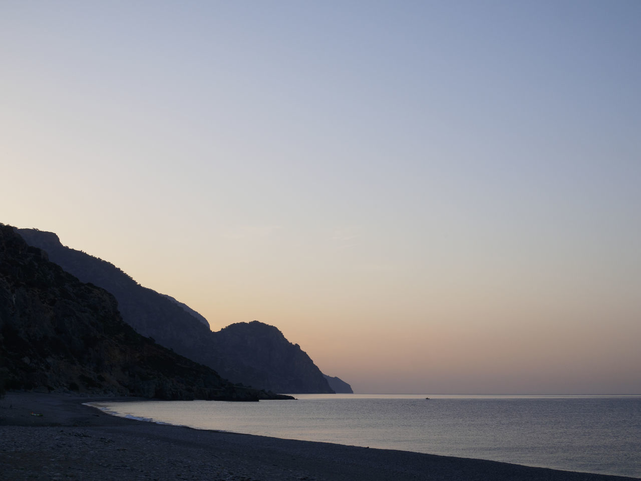 Sougia beach on the south side of Crete Beach Beauty In Nature Clear Sky Horizon Landscape Nature Scenics Sea Sky Sunrise Tranquil Scene Tranquility Water