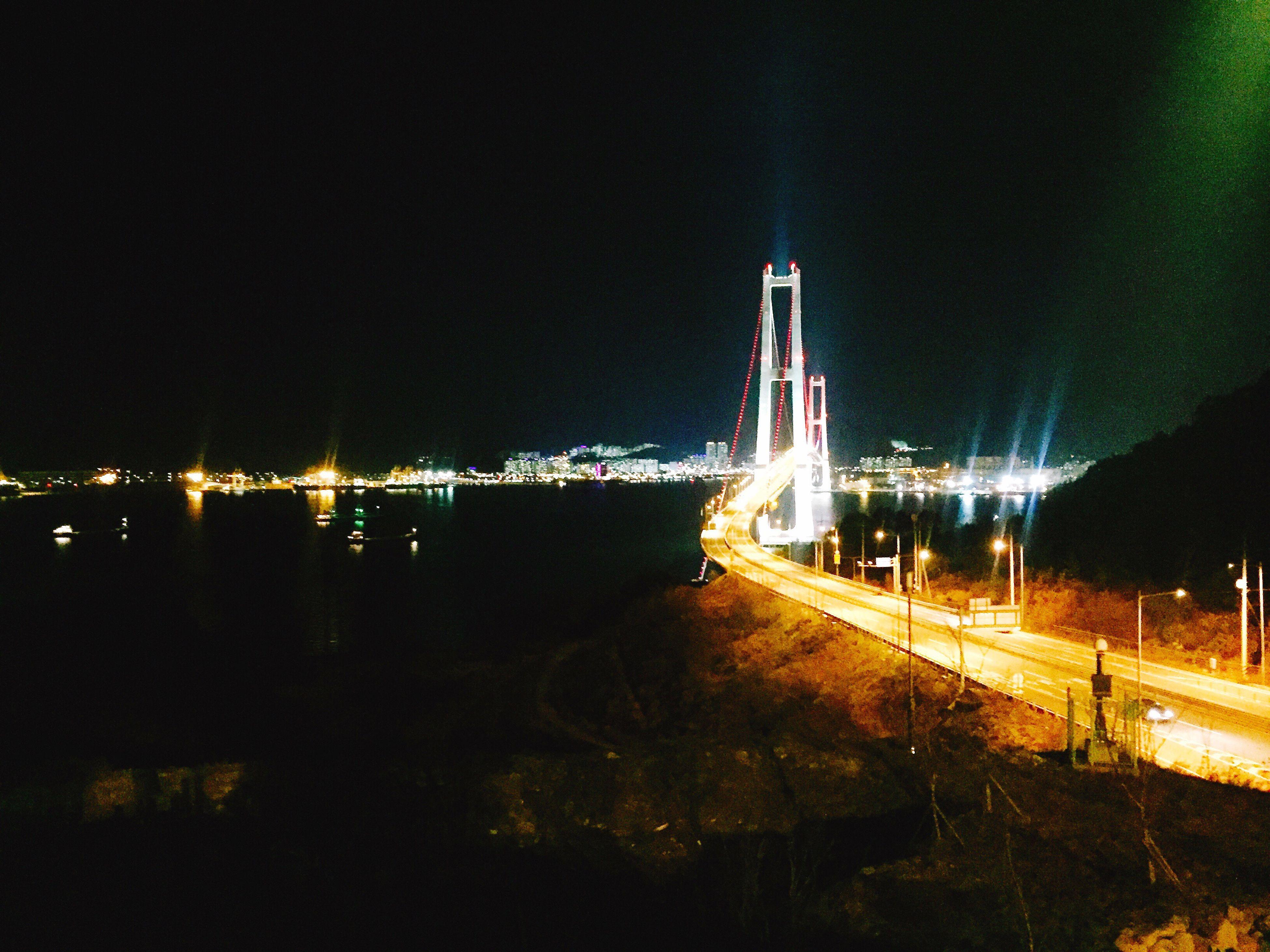 night, illuminated, transportation, light trail, no people, outdoors, road, sky