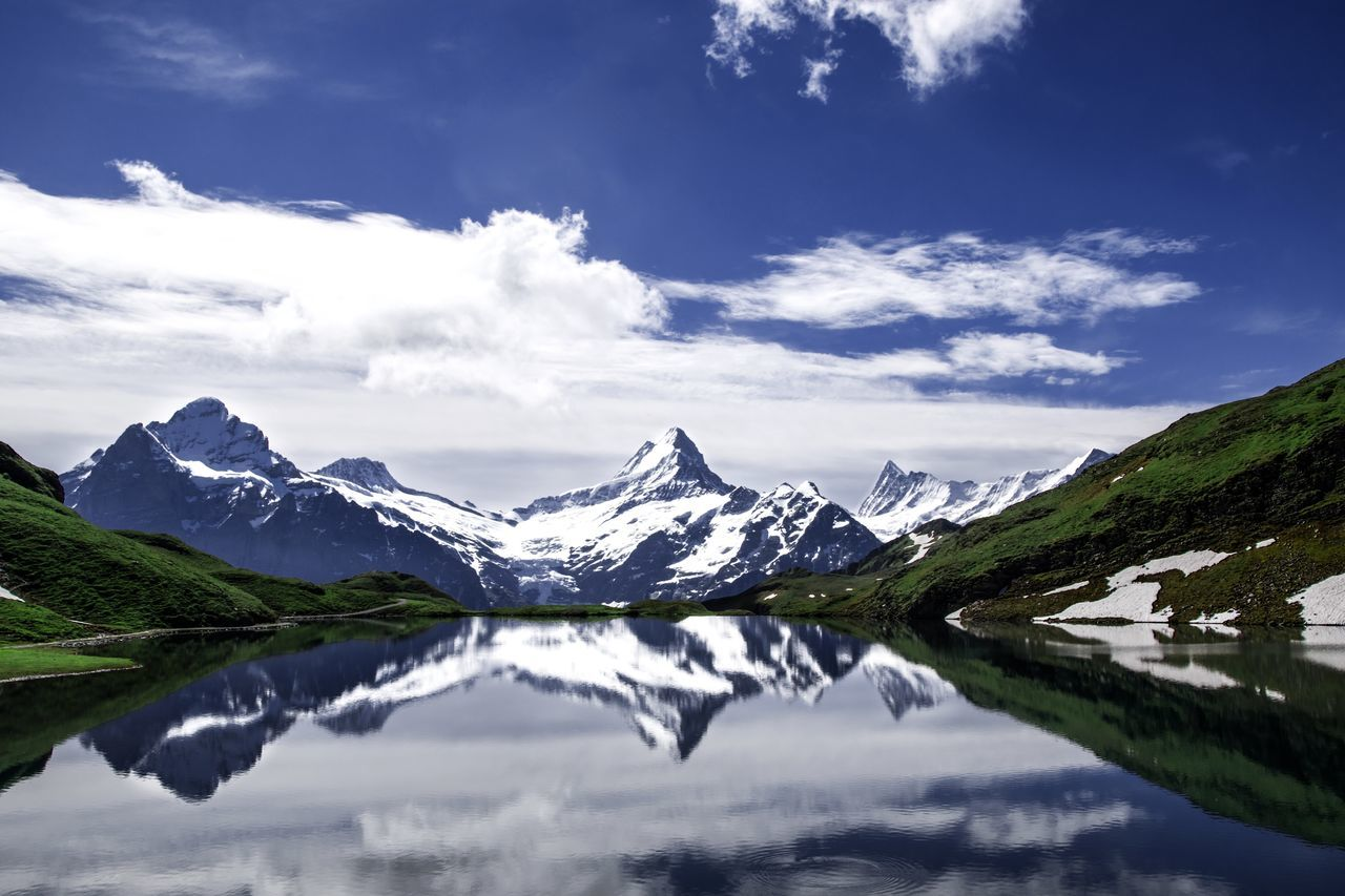 Beauty In Nature Blue Cloud Cloud - Sky Covering Day Idyllic Lake Landscape Majestic Mountain Mountain Range Nature Non-urban Scene Reflection Remote Sky Snowcapped Mountain Tranquil Scene Tranquility Bachalpsee EyeEm X Adobe - The Great Outdoors
