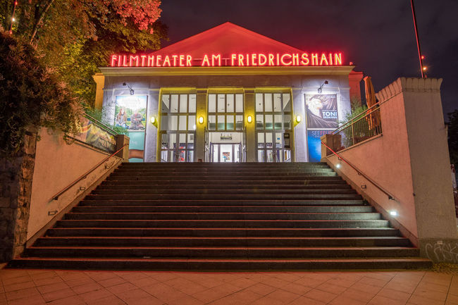 Filmtheater am Friedrichshain Abandoned Architecture Berlin Cinema Cinematic City Façade Filmtheater Friedrichshain Glow Glowing Illuminated Kino MOVIE Movie Theater Movie Time Movies Night Night Lights Nightphotography No People Red Red Letters Stairs Symmetrical