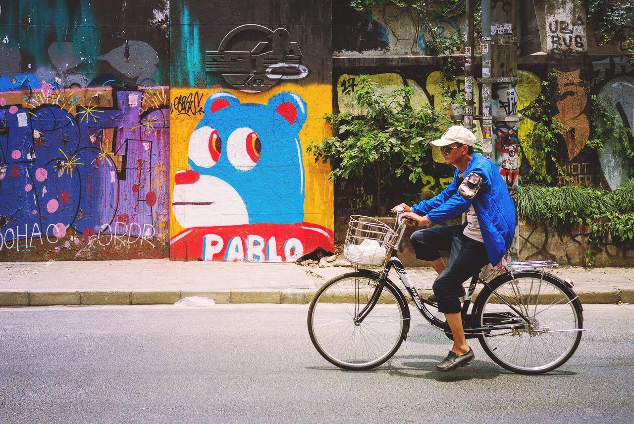 BYOPaper! I'm watching you! Graffiti Art Passenger Cycling Lifestyle Shanghai Streets EyeEmNewHere