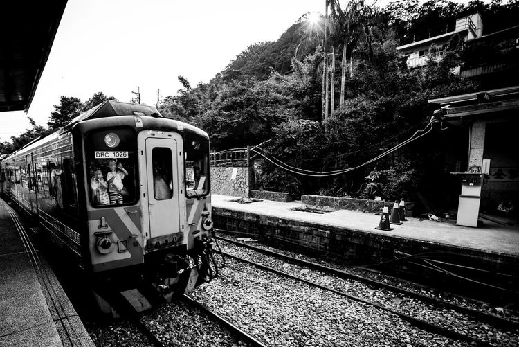 ASIA Atmosphere Black And White Bnw Day Journey Light Light And Shadow M Mode Of Transport Outdoors Public Transportation Rail Transportation Railroad Track Railway Street Taipei Taiwan Train Train - Vehicle Train Station Tranditional Transportation Travel Tree