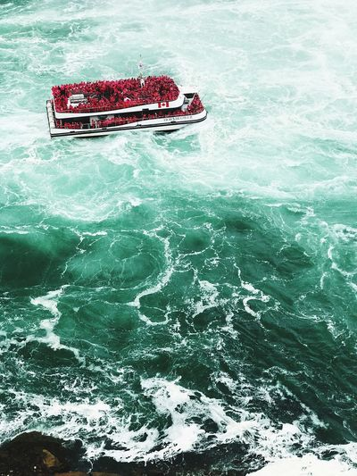 Transportation High Angle View Water Day Nautical Vessel Nature Outdoors Sea No People Boat Niagara Falls Red Accent Choppy Waters Rough Sea Rough Waters Tour Boat Lost In The Landscape