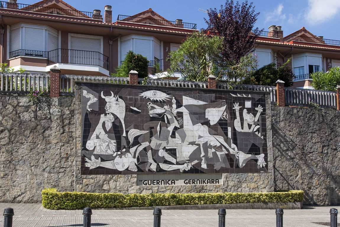 mosaique copy of the painting, gift of Pablo Picasso to the people of Guernica Architecture Artist ArtWork Basque Country Day Europe Euskadi Gernika Guernica Monument Mosaic No People Pablo Picasso Public Area SPAIN