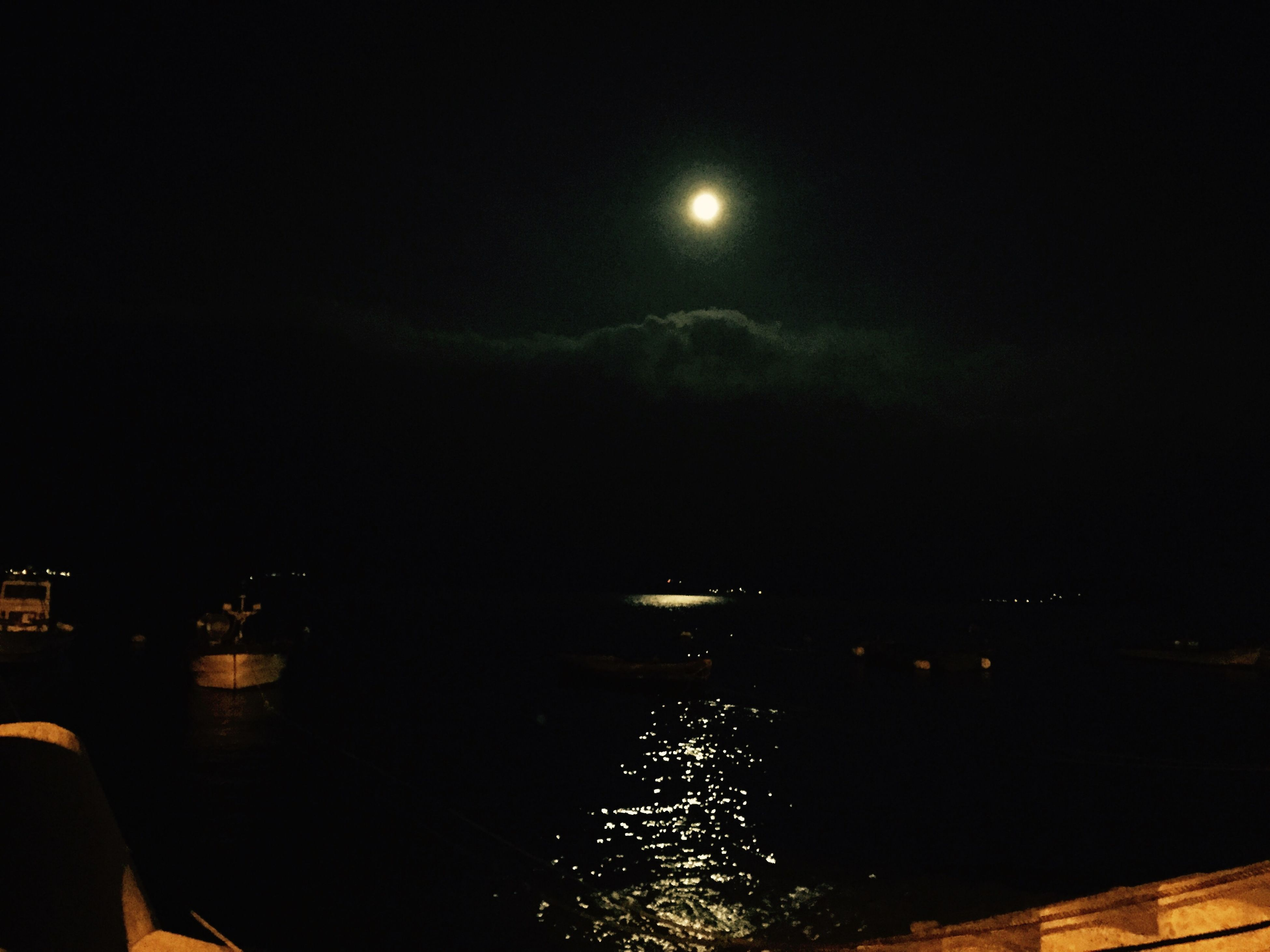 night, water, illuminated, sky, moon, scenics, tranquil scene, tranquility, sea, beauty in nature, reflection, nature, waterfront, idyllic, astronomy, dark, outdoors, river, no people, full moon