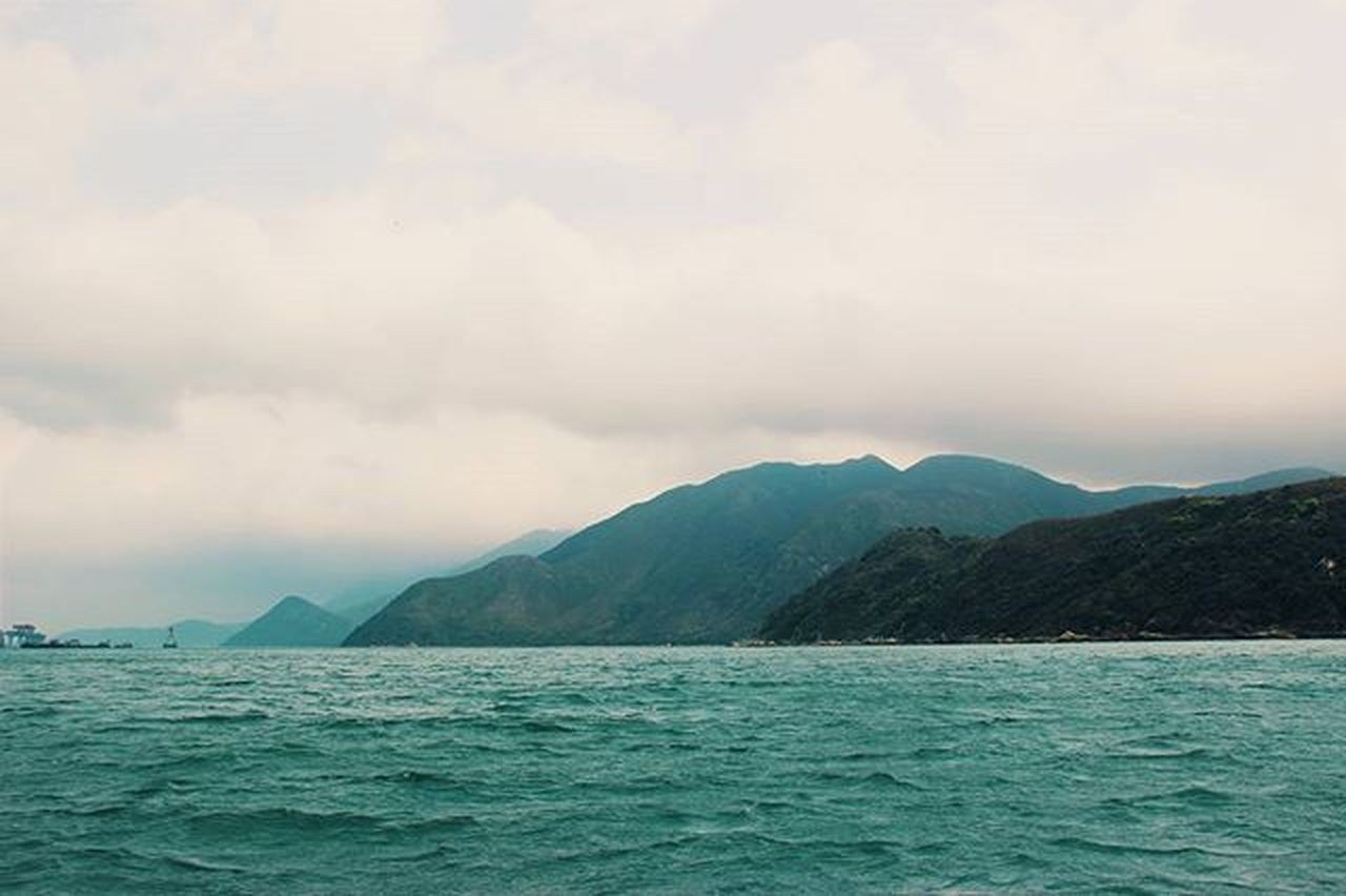 sea, nature, beauty in nature, tranquility, scenics, tranquil scene, water, cloud - sky, outdoors, mountain, no people, waterfront, sky, sunset, day