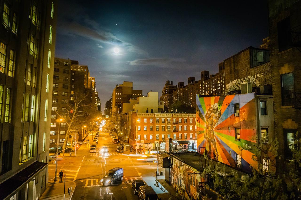 Chelsea City City Street Cityscape Highline Illuminated New York Night Street