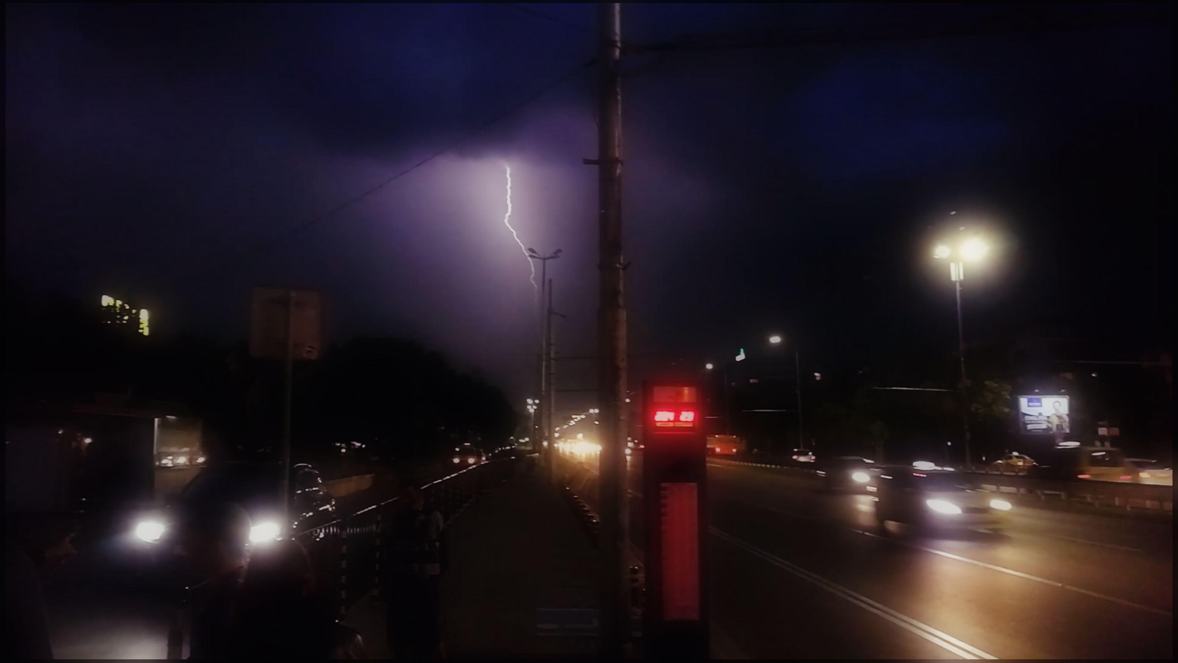 illuminated, night, transportation, mode of transport, land vehicle, no people, car, rail transportation, outdoors, road, sky, city