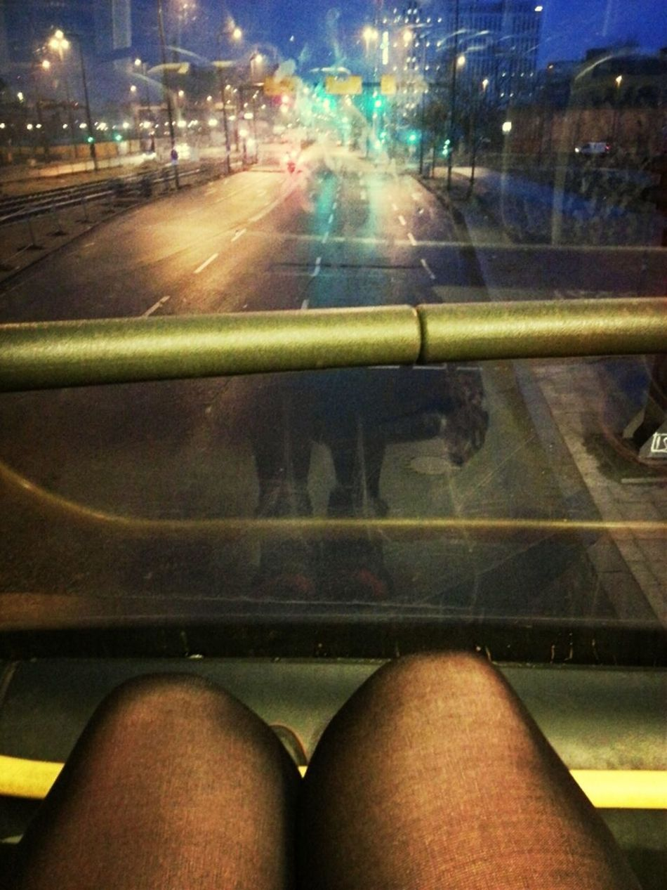 sitting front row in the bus