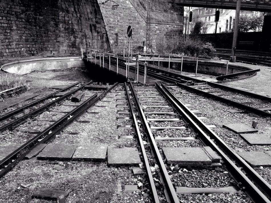Turn Table Train Tracks Black And White