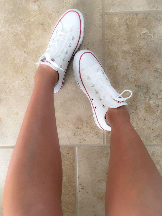 ChuckTaylors Chucks Converse Converseallstar Whitechucks Mychucks Shoes ShoeFanatic Legselfie Tan