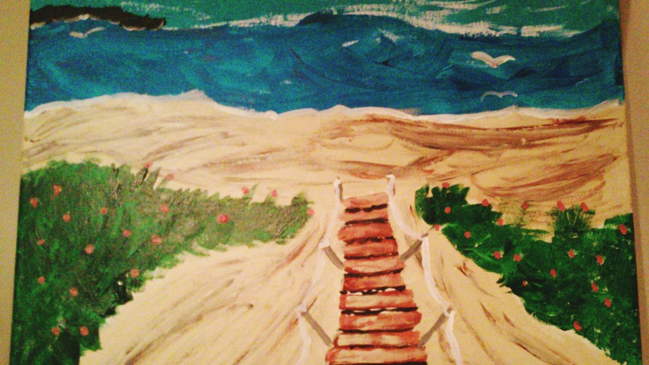 Painting Beach At The Boardwalk  Acrylic Painting Nature Photography Nature_collection