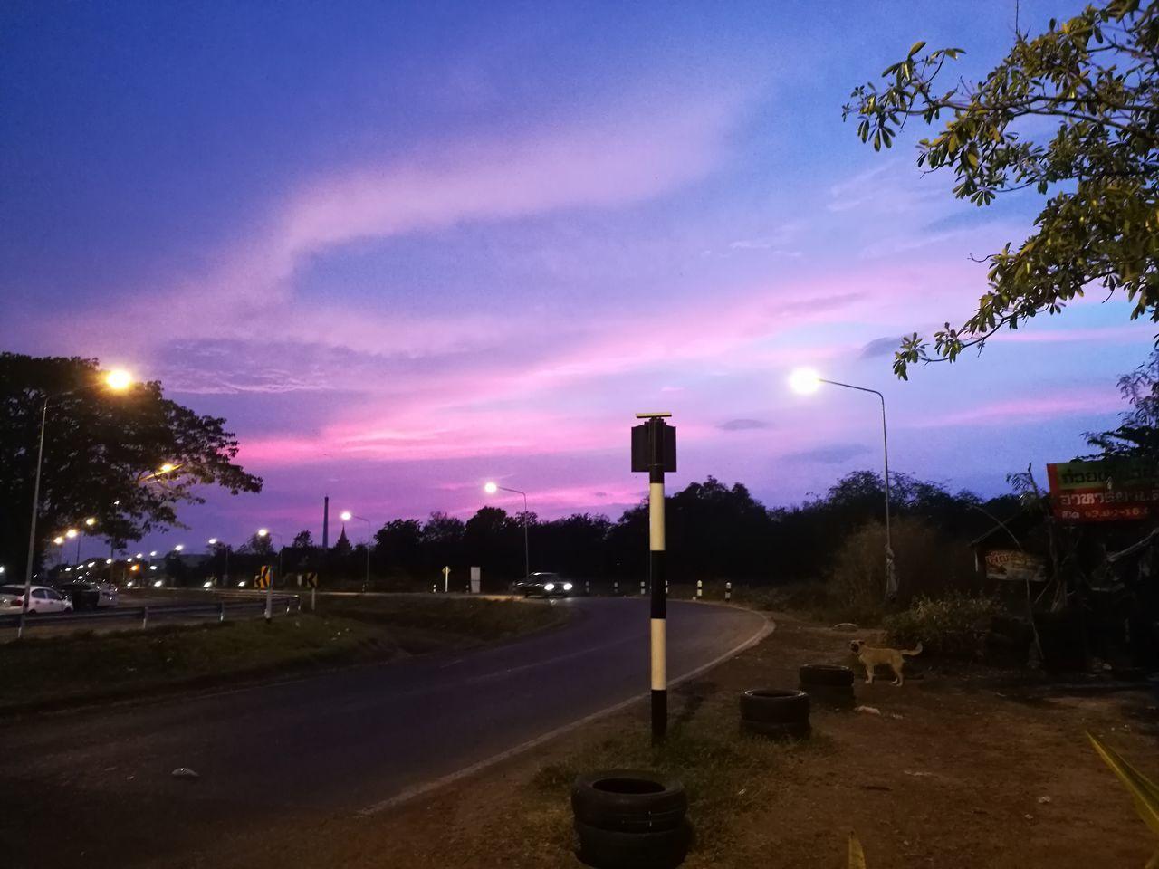street light, sky, illuminated, tree, outdoors, night, no people, cloud - sky, road, nature