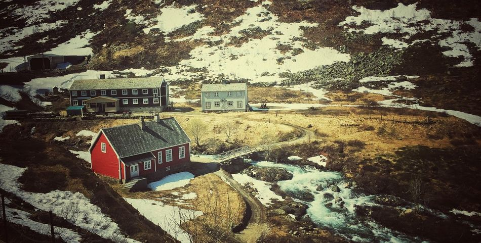 House Built Structure Architecture River Outdoors Day Farmhouse Winter Landscape Nature Adventure Travel Norway🇳🇴 Scenics Travel Destinations Beauty In Nature