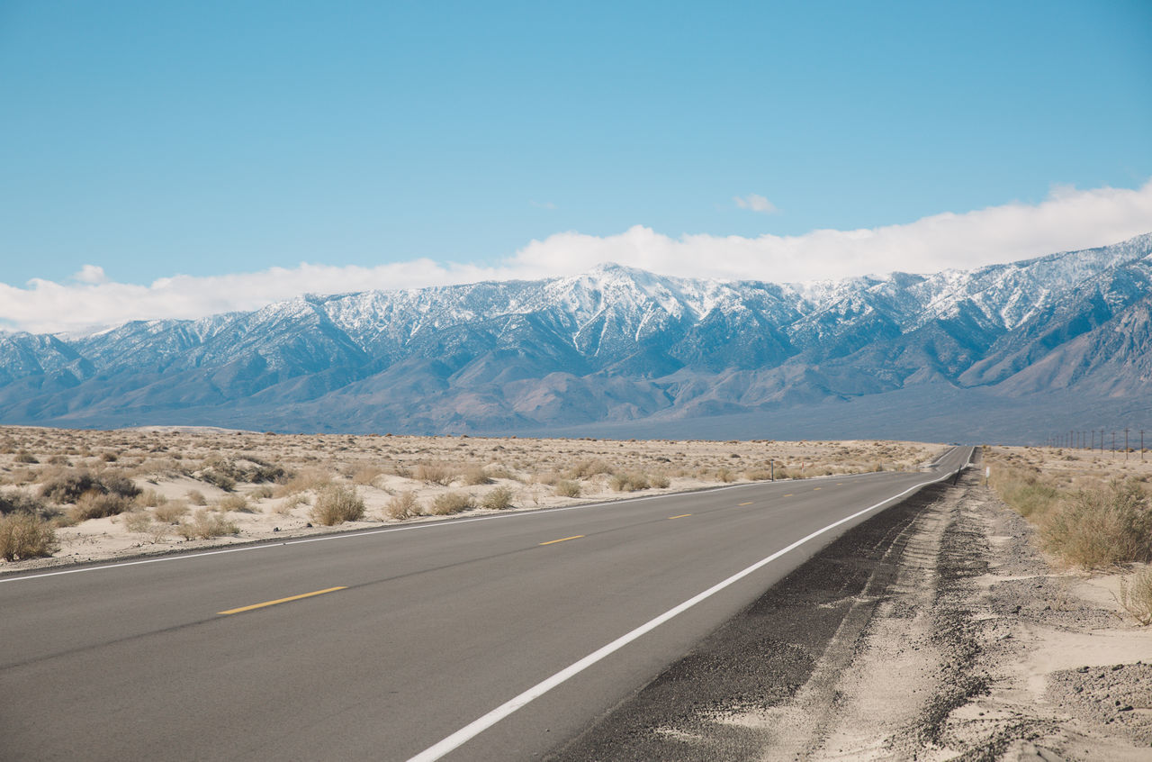 Arid Climate Arid Landscape Beauty In Nature Blue Sky CA-190 California Day Death Valley Desert Landscape Mountain Mountain Range Nature No People Outdoors Road Road Roadtrip Scenics Sky Snow The Way Forward Tranquil Scene Tranquility Transportation