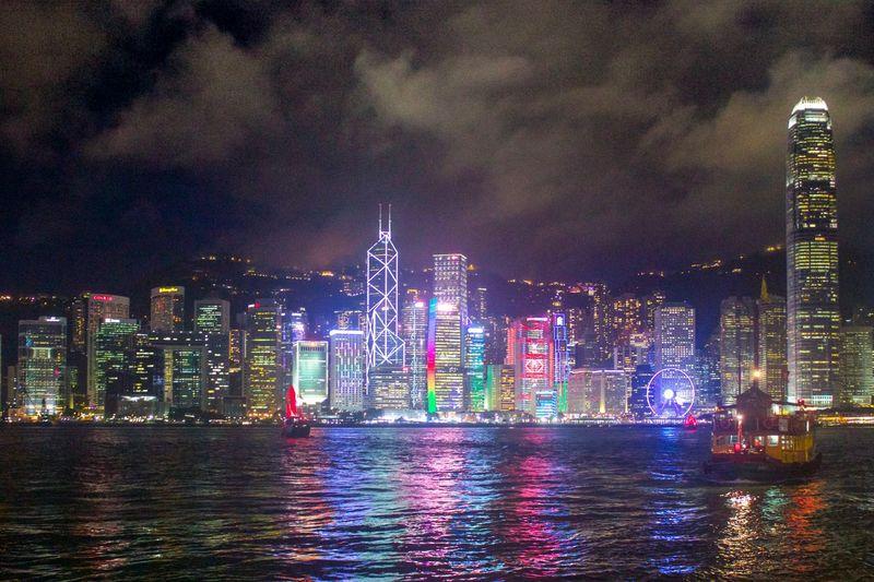 Victoria Harbour, Hong Kong Skyscraper Night Cloud - Sky Waterfront Built Structure Travel Destinations City Life