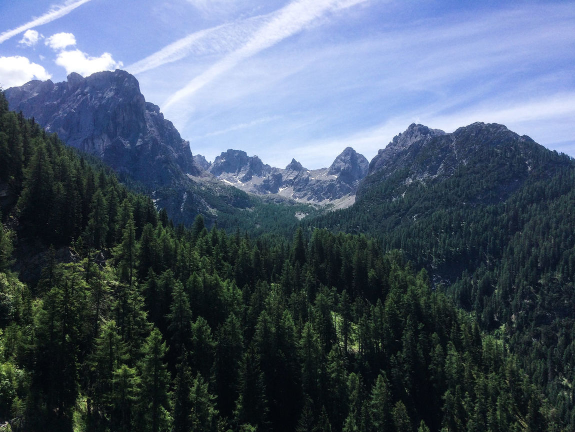 Beauty In Nature Day Dolomitenhutte Forest Freshness Landscape Mountain Nature No People Outdoors Peak Scenery Sky Tree