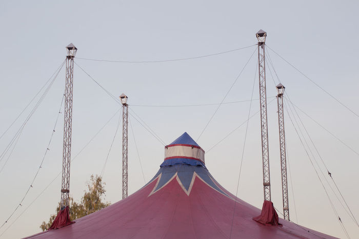 Blue Built Structure Cable Circus High Section Low Angle View Outdoors Part Of Red Sky Tent