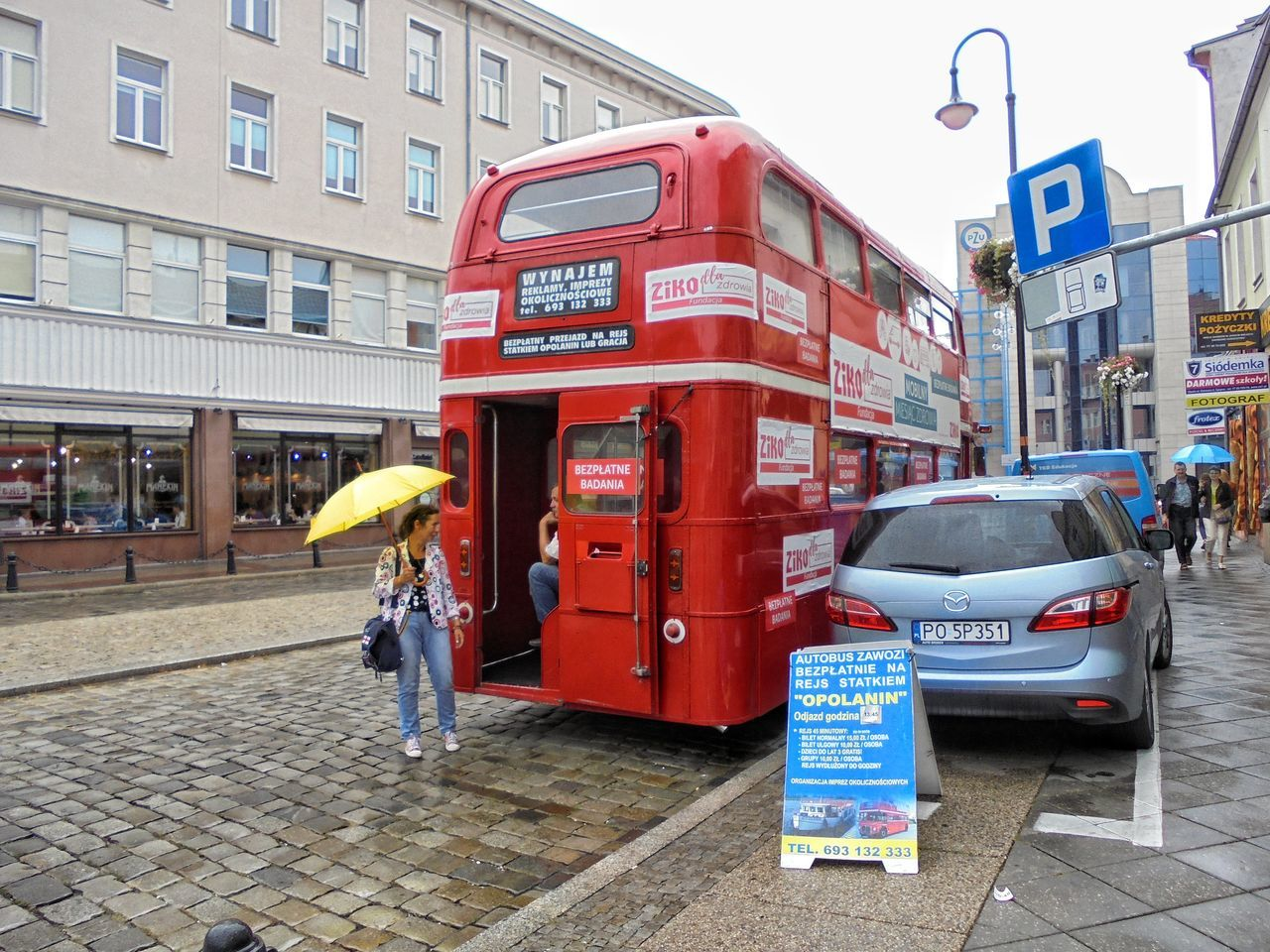 Red Redbus Londonbus Land Vehicle Tourist Attraction  City Street Street City Opole Poland