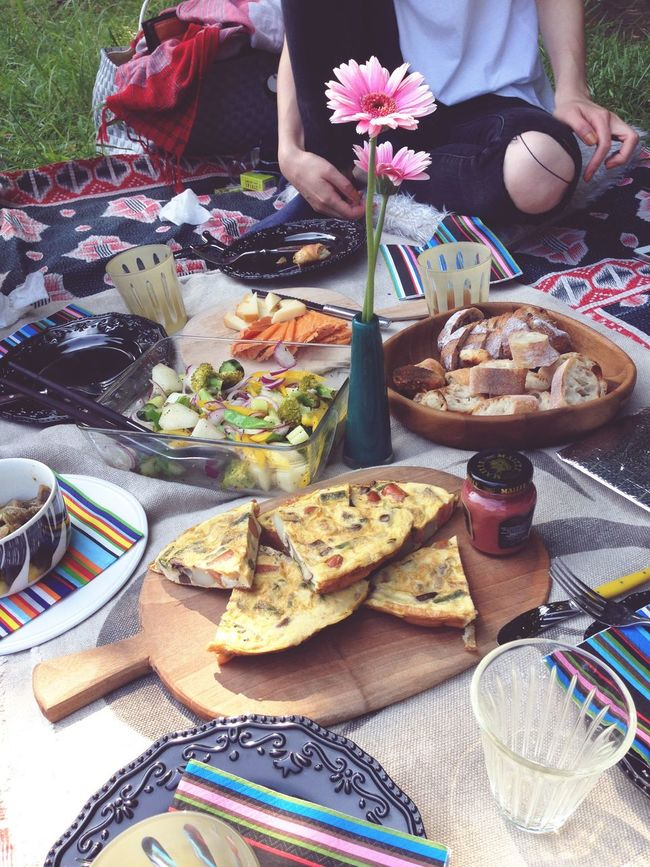 Picnic in the park Food And Drink Food Freshness Table Park Piknik Still Life Glass Quiche Lorraine Quiches Holiday