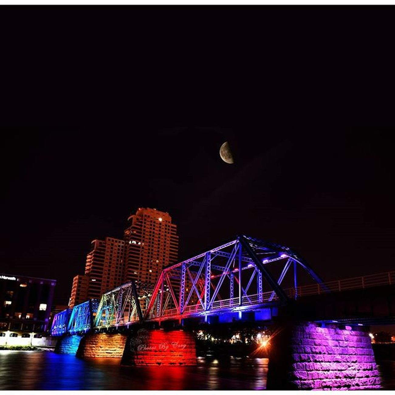 An edit of two photos I took last night. One of the bridge and one of the moon. then I combined them to be more like the way it looked last night. Bluebridge Gr GrandrapidsInstagrammers Arenadistrictgr Puremichigan Photoftheday Lovewins DownTownGR Nightview Grandrapids