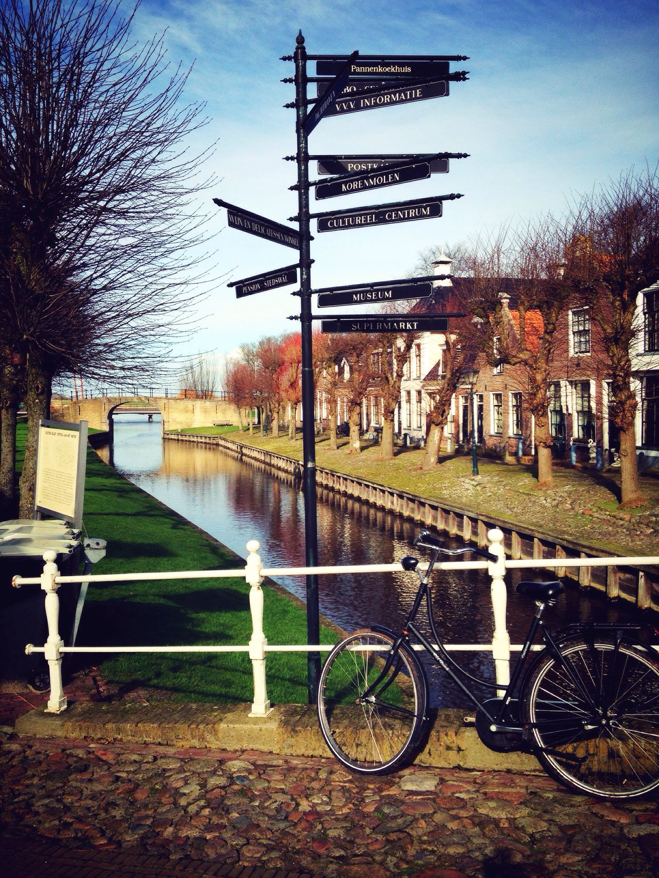 Transportation Built Structure Sky Tree Land Vehicle Outdoors Water Mode Of Transport No People Architecture Nature Streetphotography Dutch Landscape Travel Destinations Bike Dutch House Winter 2017 Neighborhood Map