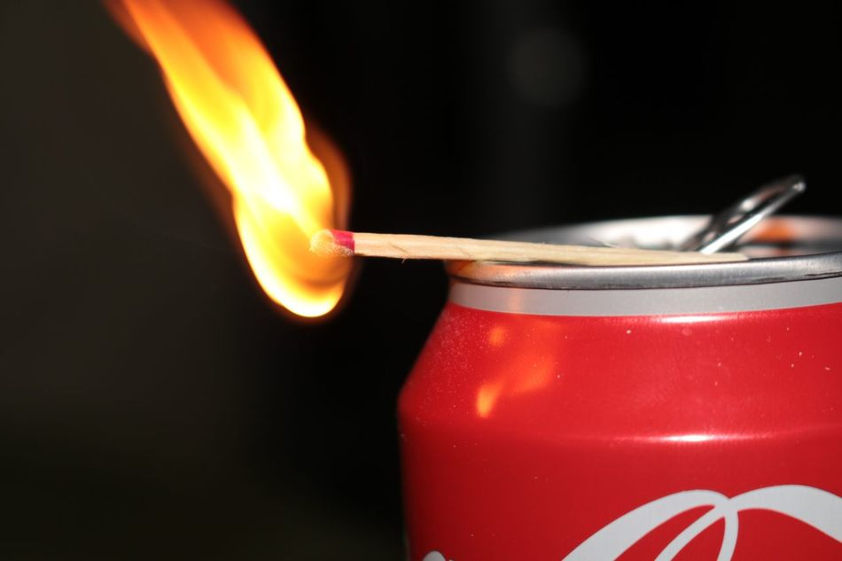 Burning Flame Red Heat - Temperature Close-up Focus On Foreground No People Fire Matchstick Coca Cola Shutter Speed