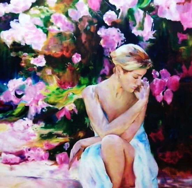 Cuadro al oleo óleo Cuadro Mujer Flores Colors