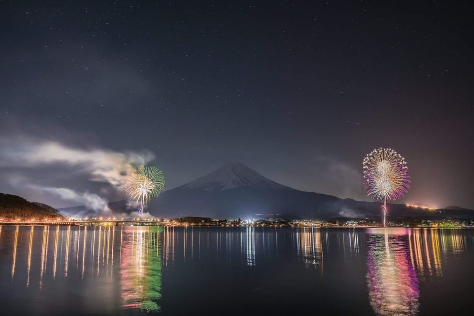 Night Reflection Sky Star - Space EyeEm EyeEm Best Shots 星 富士山 Mt_FUJI 夜景 河口湖 花火大会