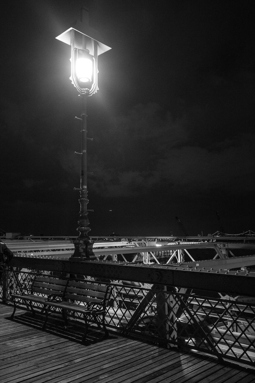 illuminated, lighting equipment, night, street light, outdoors, sky, water, no people, architecture, nature