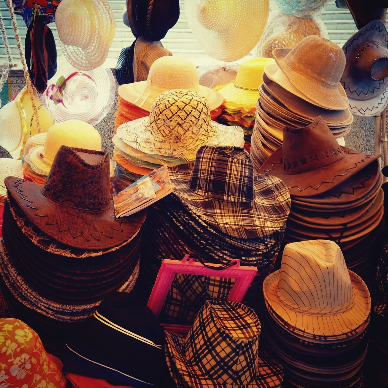 Various Hats For Sale At Street Market