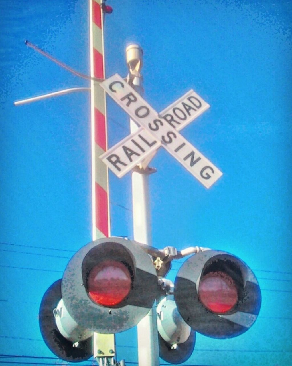 guidance, transportation, text, no people, blue, railway signal, day, low angle view, communication, outdoors, close-up, road sign, sky